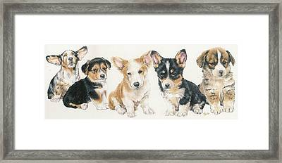 Welsh Corgi Puppies Framed Print by Barbara Keith