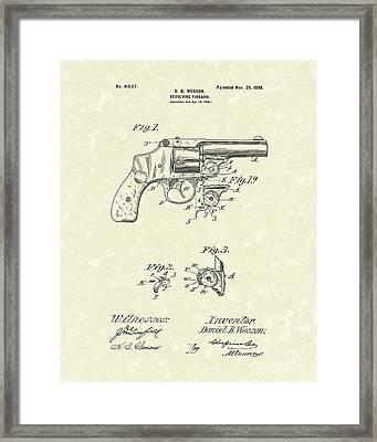 Wesson Pistol 1898 Patent Art Framed Print by Prior Art Design