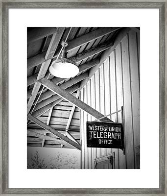 Western Union Sign Laws Ca Framed Print