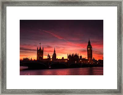 Westminster Sunset Framed Print