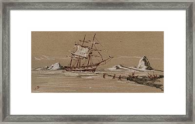 Whaler Ship Framed Print by Juan  Bosco