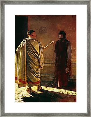 What Is Truth - Christ And Pilate Framed Print by Mountain Dreams