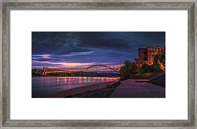 Wheeling Suspension Bridge  Framed Print