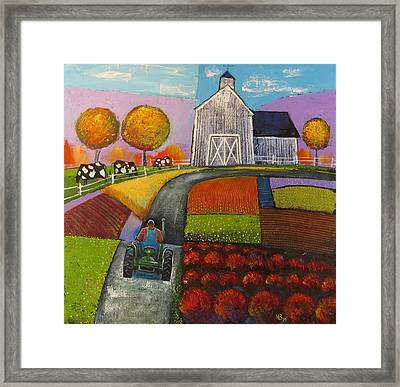 White Barn Framed Print