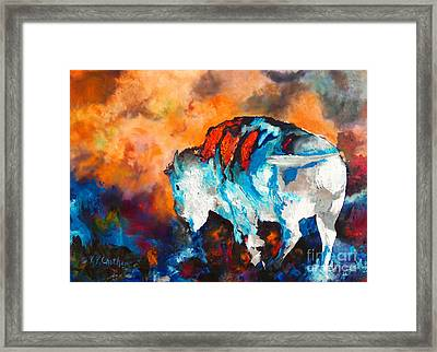 Framed Print featuring the painting White Buffalo Ghost by Karen Kennedy Chatham
