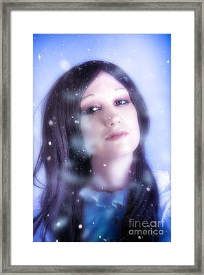 White Christmas Girl. Falling Snow And Ice On Face Framed Print by Jorgo Photography - Wall Art Gallery