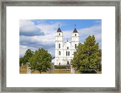 White Church Framed Print by Regina Koch