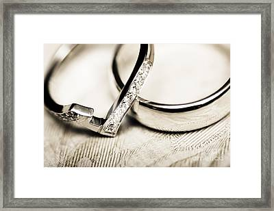 White Gold Wedding Rings Framed Print by Jorgo Photography - Wall Art Gallery