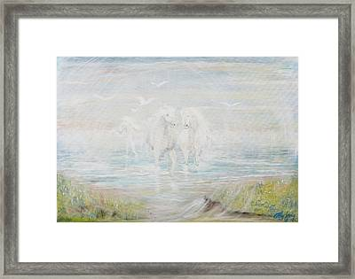 Framed Print featuring the painting White Horses by Cathy Long