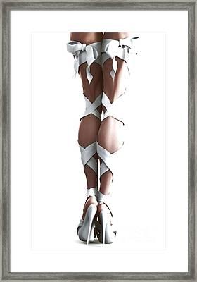 White Ribbons Framed Print