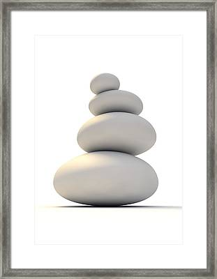White Zen Stones Framed Print