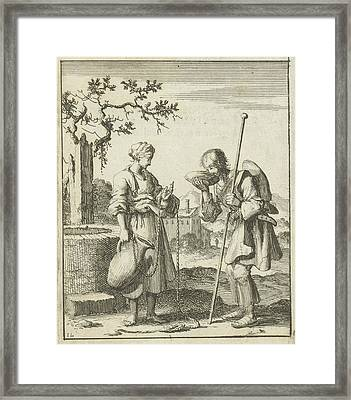 Wife Gives A Pilgrim Water From A Jug, Jan Luyken Framed Print by Jan Luyken And Pieter Arentsz (ii)