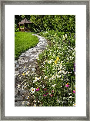 Wildflower Garden And Path To Gazebo Framed Print by Elena Elisseeva