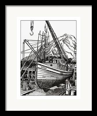 Boats In Harbor Drawings Framed Prints
