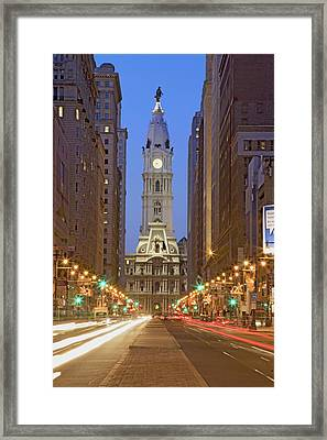 William Penn Statue On The Top Of City Framed Print