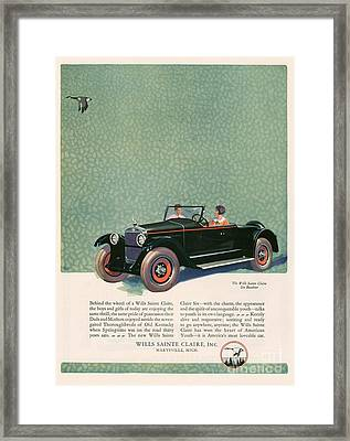 Wills Sainte Claire 1925 1920s Usa Cc Framed Print by The Advertising Archives