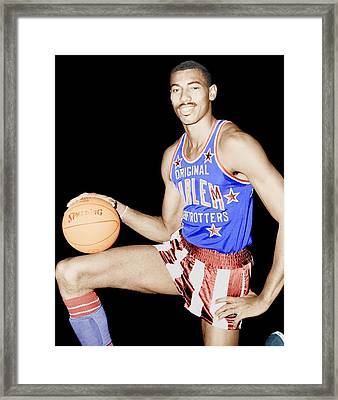 Wilt Chamberlain As A Member Of The Harlem Globetrotters  Framed Print