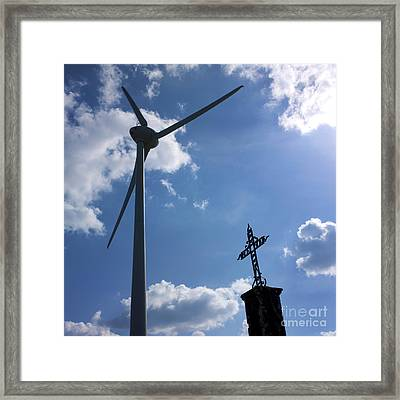 Wind Turbine And Cross Framed Print by Bernard Jaubert