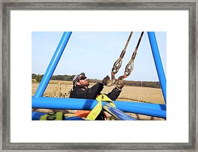 Wind Turbine Construction Framed Print by Jim West
