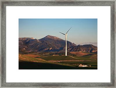 Windfarm Amidst Farmland Near Ardales Framed Print by Panoramic Images