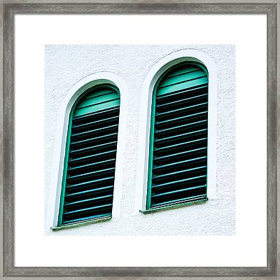 Window In Green Wood Framed Print