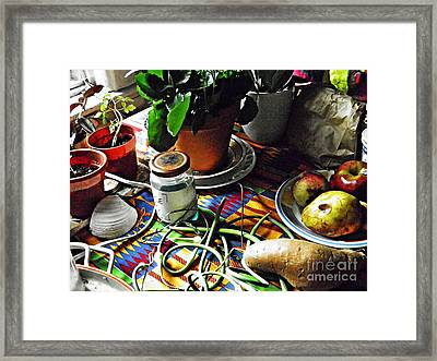 Window Table In Harlem Framed Print by Sarah Loft