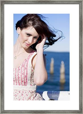Windy Hair Woman Framed Print by Jorgo Photography - Wall Art Gallery
