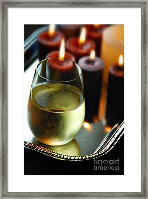 Wine And Candles Framed Print by HD Connelly