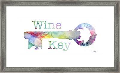 Wine Key Watercolor Framed Print by Jon Neidert