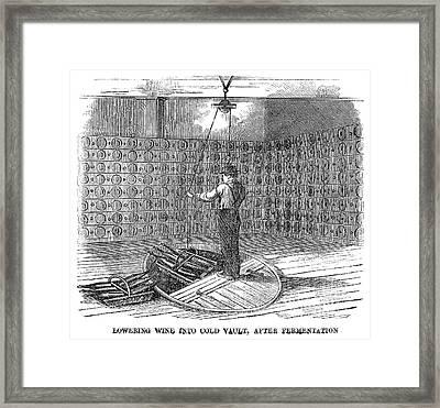Winemaking Vault, 1866 Framed Print by Granger