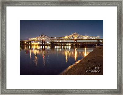 Winona Bridge At Sunset Framed Print