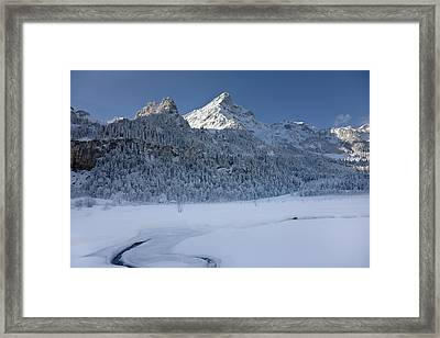 Winter Landscape At Tschingelsee (lake Framed Print by Martin Zwick