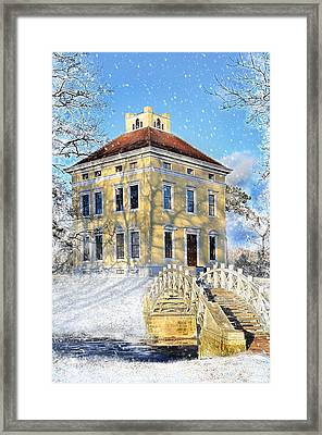 Winter Landscape With A Bridge Over The River And Interesting Home Framed Print by Gynt