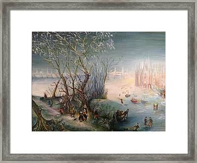 Framed Print featuring the painting Winter Scene by Egidio Graziani