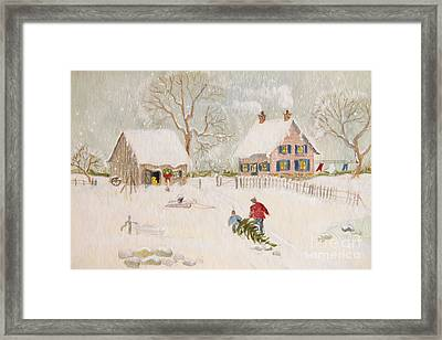 Winter Scene Of A Farm With People/ Digitally Altered Framed Print by Sandra Cunningham