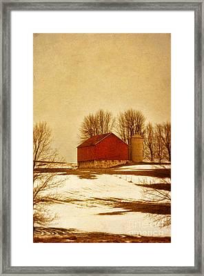 Wisconsin Barn In Winter Framed Print