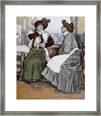 With The Cook In The Kitchen Framed Print by Hlavaty, Franz (1861-1917), German