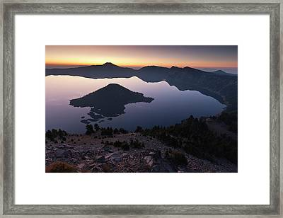 Wizard Island At Dawn, Crater Lake Framed Print