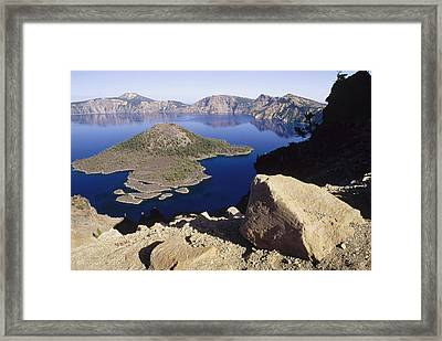 Wizard Island In Crater Lake Framed Print by Gerry Ellis