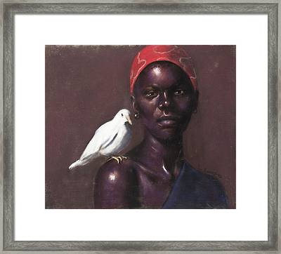 Woman And Dove Framed Print by L Cooper