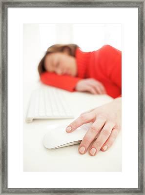 Woman Asleep On Keyboard Framed Print by Ian Hooton