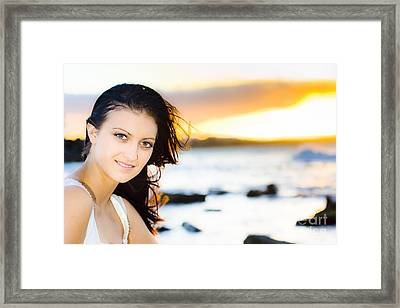 Woman At Sunset Framed Print by Jorgo Photography - Wall Art Gallery