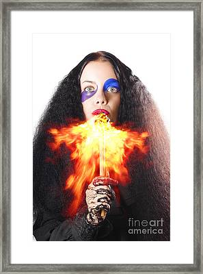 Woman Breathing Fire From Mouth Framed Print by Jorgo Photography - Wall Art Gallery