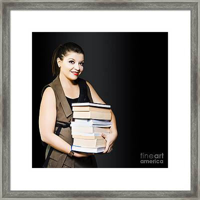 Woman Carrying Books From Library  Framed Print by Jorgo Photography - Wall Art Gallery