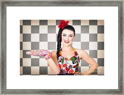 Woman Cook Displaying Food Product In Kitchen Framed Print by Jorgo Photography - Wall Art Gallery