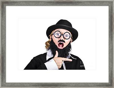 Woman Disguised As Man Gesturing Framed Print by Jorgo Photography - Wall Art Gallery