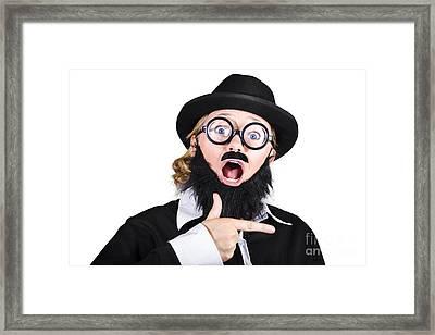 Woman Disguised As Man Gesturing Framed Print