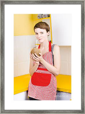 Woman Drinking Coconut Milk In Kitchen Framed Print by Jorgo Photography - Wall Art Gallery