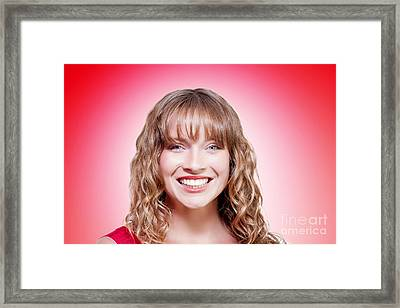 Woman Enjoying Clean Fresh Skin On Red Background Framed Print by Jorgo Photography - Wall Art Gallery