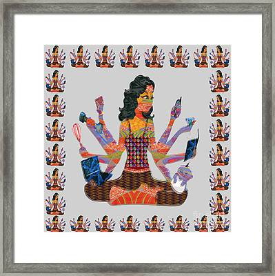 Modern Woman Female Spiritual Inspiration Multitasking Leadership Goddess Background Designs   Framed Print